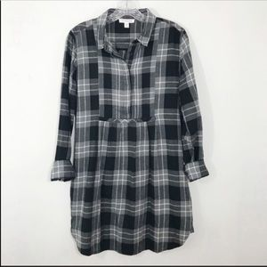 BEACHLUNCHLOUNGE  Black Gray Flannel Plaid Dress S